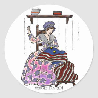 Betsy Ross Makes a Flag Memorial Day Round Sticker