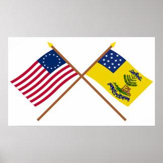 Betsy Ross y dólares cruzados de las banderas de A Poster