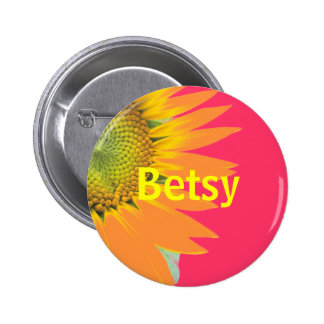 Betsy Sunflower Pink and Yellow Bright Name Badge 2 Inch Round Button