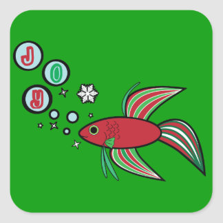 Betta Fish at Christmas Square Stickers