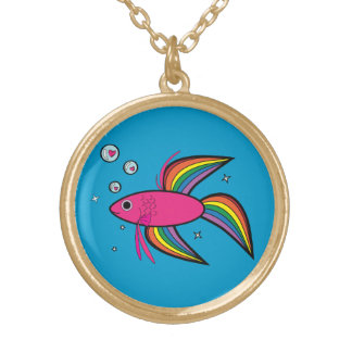 Betta Fish Gold Plated Necklace
