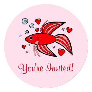 Betta Fish in Red and Pink with Hearts and Bubbles Invitation