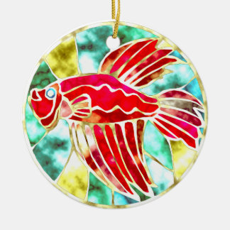 Betta Fish Double-Sided Ceramic Round Christmas Ornament