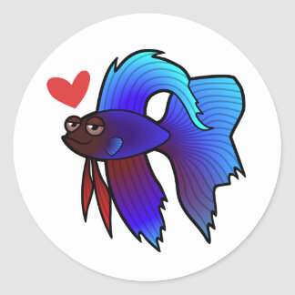 Betta Fish / Siamese Fighting Fish Love Classic Round Sticker