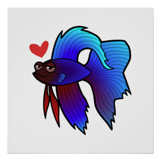 Betta Fish / Siamese Fighting Fish Love Poster