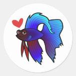 Betta Fish / Siamese Fighting Fish Love Round Stickers