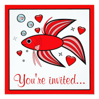 Betta Fish with Hearts Valentine's Party Card