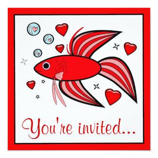 Betta Fish with Hearts Valentine's Party Invitation