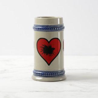 Betta Heart Love Fish Silhouette Beer Stein