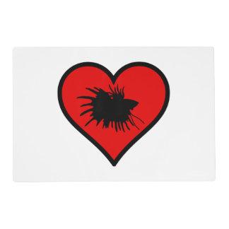 Betta Heart Love Fish Silhouette Placemat
