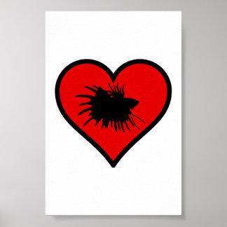 Betta Heart Love Fish Silhouette Poster