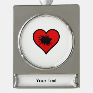Betta Heart Love Fish Silhouette Silver Plated Banner Ornament