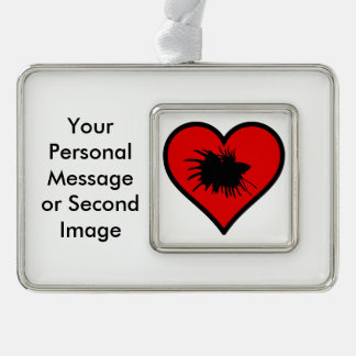 Betta Heart Love Fish Silhouette Silver Plated Framed Ornament