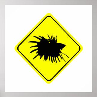 Betta Warning Sign Love Siamese Fighting Fish Poster
