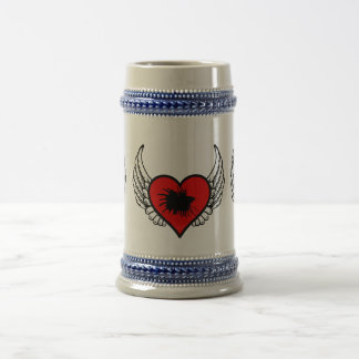 Betta Winged Heart Love Fish Silhouette Beer Stein