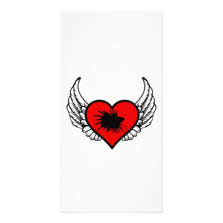 Betta Winged Heart Love Fish Silhouette Card