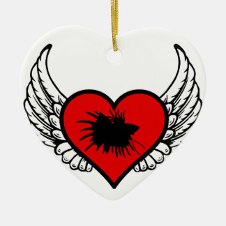Betta Winged Heart Love Fish Silhouette Ceramic Ornament
