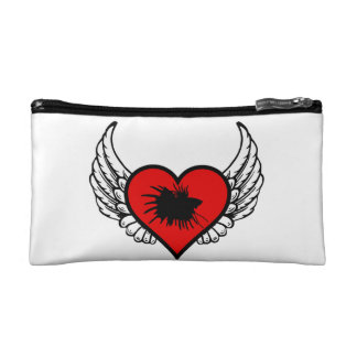 Betta Winged Heart Love Fish Silhouette Makeup Bag