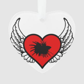 Betta Winged Heart Love Fish Silhouette Ornament