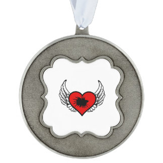 Betta Winged Heart Love Fish Silhouette Pewter Ornament