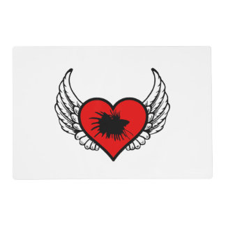Betta Winged Heart Love Fish Silhouette Placemat