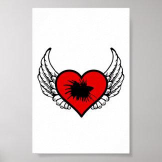 Betta Winged Heart Love Fish Silhouette Poster