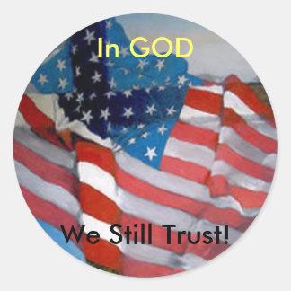 Better America Cross Flag Classic Round Sticker