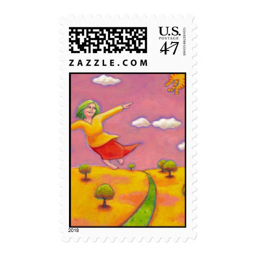 Better Days - Flying Girl and her cat fun art Postage Stamp