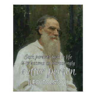 '...Better person' Leo Tolstoy Inspirational Quote Poster