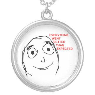 Better Than Expected Rage Face Meme Silver Plated Necklace