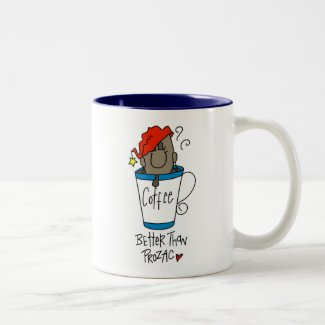 Better Than Prozac Coffee Bean Stick Figure mug