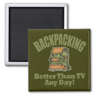 Better Than TV - Backpacking 2 Inch Square Magnet