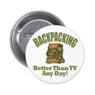 Better Than TV - Backpacking Pinback Button
