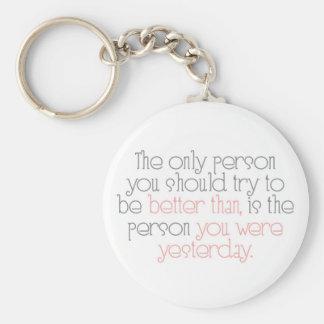 Better Than You Were Yesterday Keychain Basic Round Button Keychain