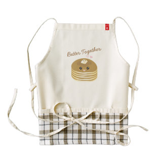 Better Together Cute Pancakes Butter Funny Foodie Zazzle HEART Apron