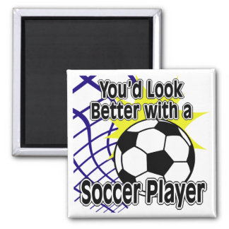 Better with a Soccer Player 2 Inch Square Magnet