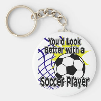 Better with a Soccer Player Basic Round Button Keychain