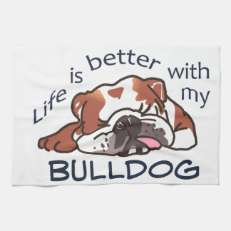 Better With Bulldog Hand Towel