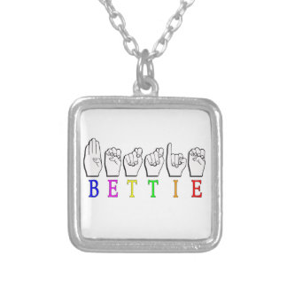 BETTIE ASL FINGERSPELLED NAME SIGN SILVER PLATED NECKLACE