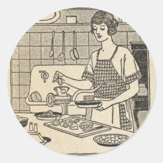 Bettina Cooking Savory Pie Classic Round Sticker