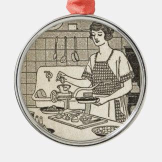 Bettina Cooking Savory Pie Metal Ornament