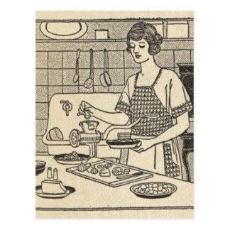 Bettina Cooking Savory Pie Postcard