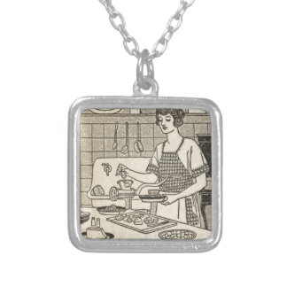 Bettina Cooking Savory Pie Square Pendant Necklace
