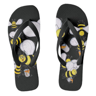 'Betty Bee' Black Flip Flops
