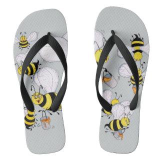 'Betty Bee' Light Grey Flip Flops