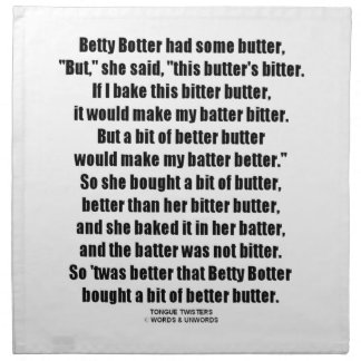 Betty Botter Better Butter (Tongue Twister) Cloth Napkin