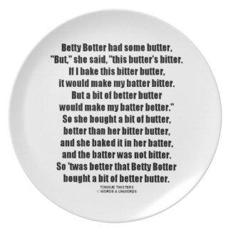 Betty Botter Better Butter (Tongue Twister) Melamine Plate