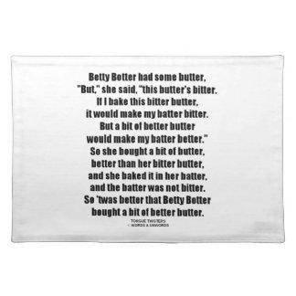 Betty Botter Better Butter (Tongue Twister) Cloth Place Mat