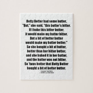 Betty Botter Better Butter (Tongue Twister) Puzzle