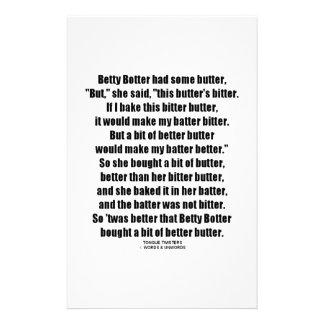 Betty Botter Better Butter (Tongue Twister) Stationery